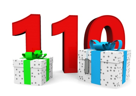 flan: a large number with two presents Stock Photo