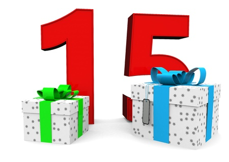 fifteen year old: a large number with two presents Stock Photo