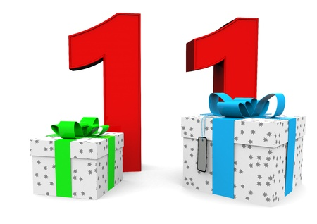 eleventh birthday: a large number with two presents Stock Photo