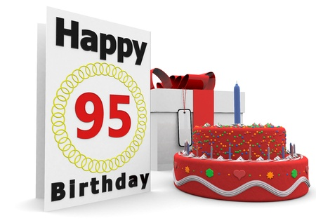 felicitate: a large birthday card with a cake and a present