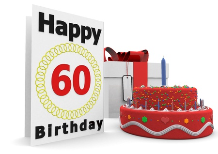 sixtieth: a large birthday card with a cake and a present