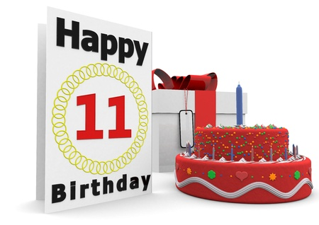 eleventh birthday: a large birthday card with a cake and a present