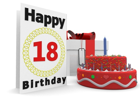 happy birthday 18: a large birthday card with a cake and a present