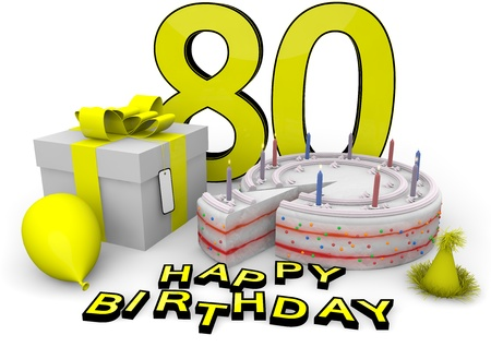 80 year old: Happy birthday with cake, present and cake in yellow Stock Photo