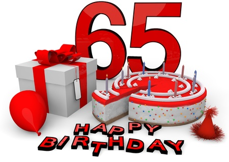 65 years old: Happy birthday with cake, present and cake in red