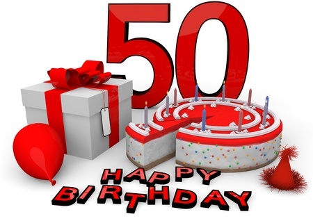 the fiftieth: Happy birthday with cake, present and cake in red