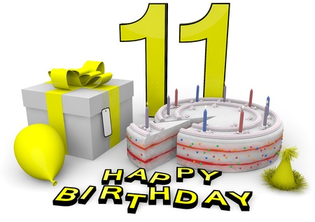 seniority: Happy birthday with cake, present and cake in yellow Stock Photo