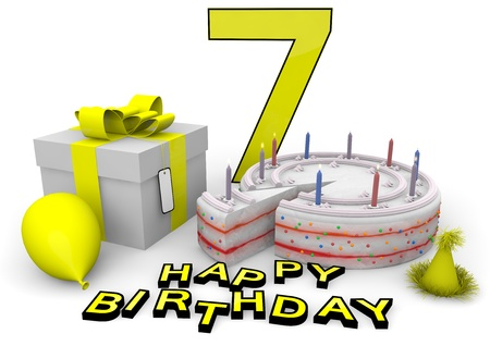 felicitate: Happy birthday with cake, present and cake in yellow Stock Photo