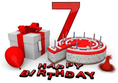 felicitate: Happy birthday with cake, present and cake in red