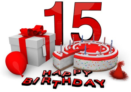 fifteen year old: Happy birthday with cake, present and cake in red