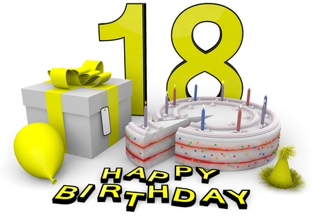 happy birthday 18: Happy birthday with cake, present and cake in yellow Stock Photo