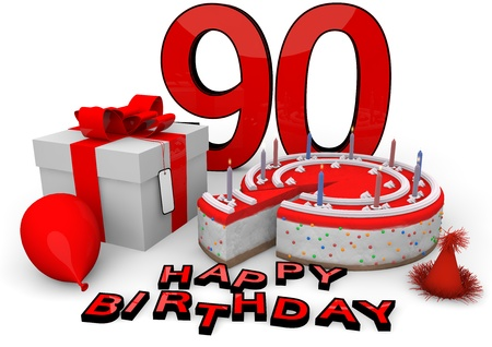ninety: Happy birthday with cake, present and cake in red