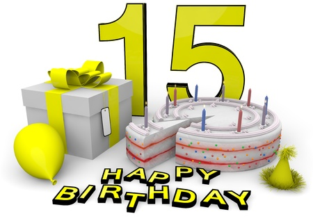 fifteen year old: Happy birthday with cake, present and cake in yellow Stock Photo