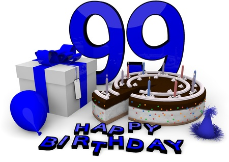 99: Happy birthday with cake, present and cake in blue