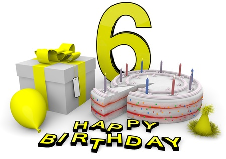 Happy birthday with cake, present and cake in yellow Stock Photo