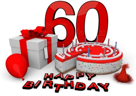 sixtieth: Happy birthday with cake, present and cake in red
