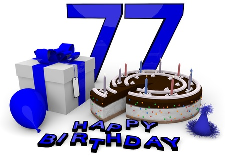felicitate: Happy birthday with cake, present and cake in blue