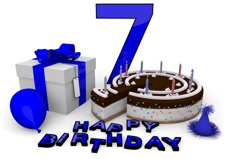 torta candeline: Buon compleanno con la torta, presente e torta in blu