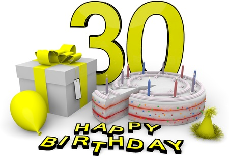 flan: Happy birthday with cake, present and cake in yellow Stock Photo