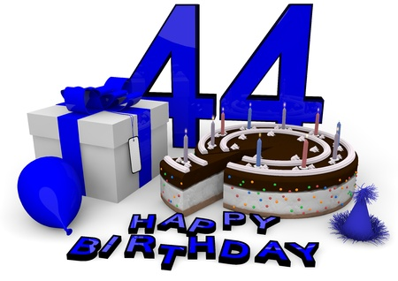 seniority: Happy birthday with cake, present and cake in blue