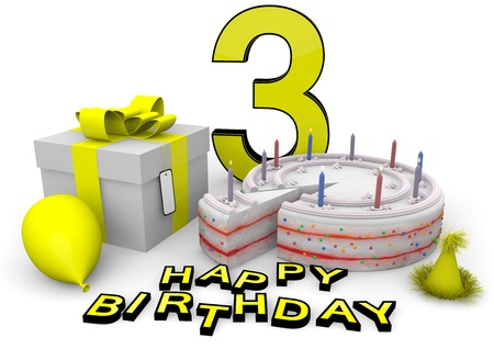 third age: Happy birthday with cake, present and cake in yellow Stock Photo