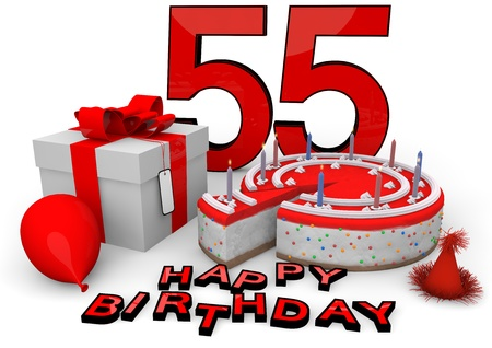 seniority: Happy birthday with cake, present and cake in red