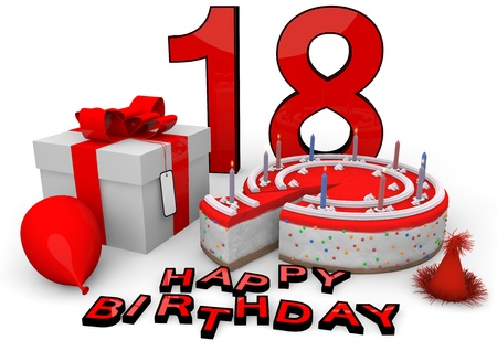 happy birthday 18: Happy birthday with cake, present and cake in red