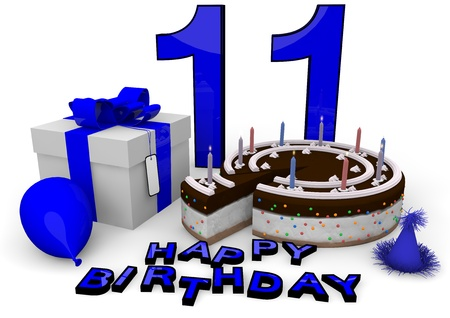eleventh birthday: Happy birthday with cake, present and cake in blue