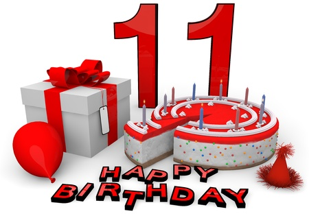eleventh birthday: Happy birthday with cake, present and cake in red