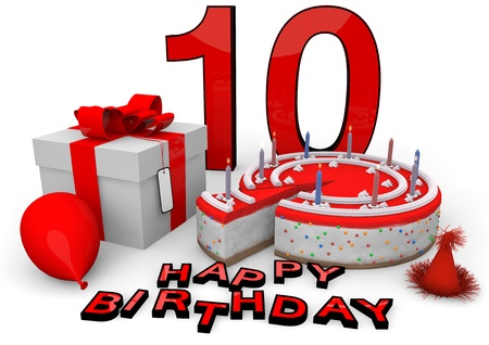 tenth: Happy birthday with cake, present and cake in red