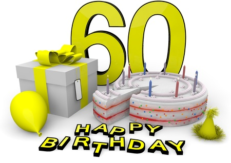 sixtieth: Happy birthday with cake, present and cake in yellow Stock Photo