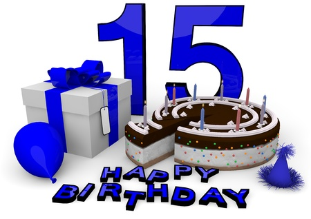 fifteen year old: Happy birthday with cake, present and cake in blue