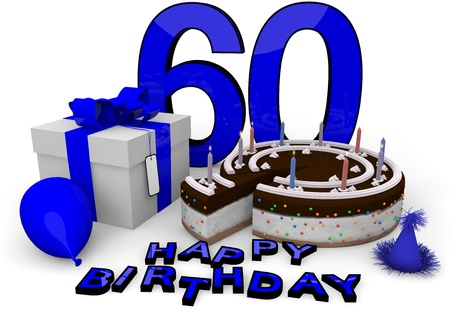 sixtieth: Happy birthday with cake, present and cake in blue