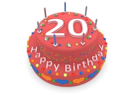 shown is a red cake with the age and happy birthday