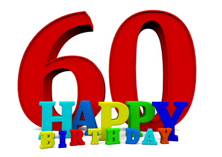 colored Happy Birthday letters with the age Stock Photo