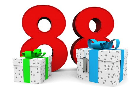 Big red number with two presents before