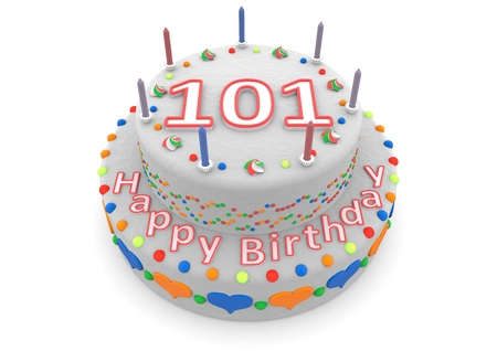 shown is a white cake with the age and happy birthday