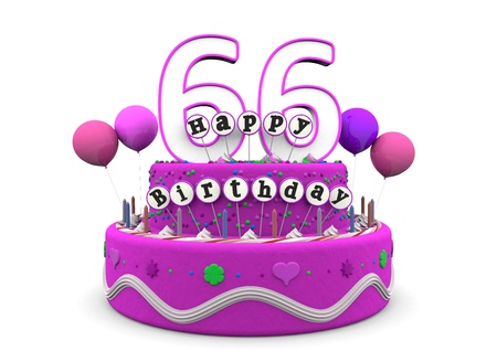 pink cake with Happy Birthday and number on top