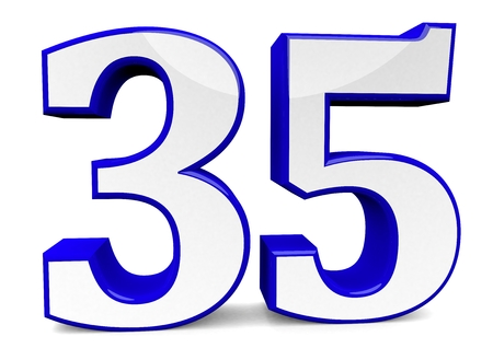 big blue number isolated on white.