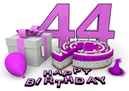 pink cake and present with Happy Birthday and the age isolated on white Stock Photo