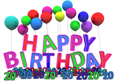 Happy Birthday at ballons with numbers isolated on white. Stock Photo