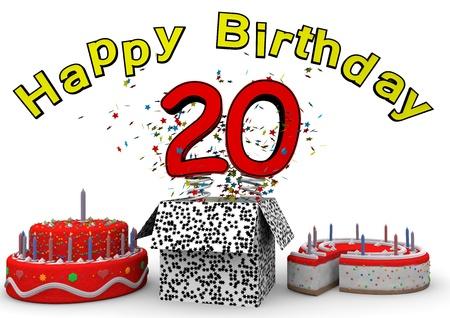 Alles Gute zum Geburtstag mit Kuchen und Nummer als Jack in der Box Standard-Bild - 96285414