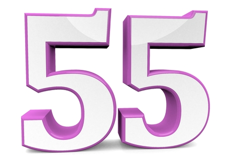 big number 55 in pink Stockfoto