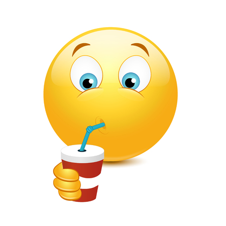 Smiley drinking a cocktail rom a straw Illustration