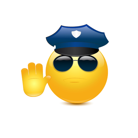 Policeman with glasses on a white backgroud Stock Illustratie