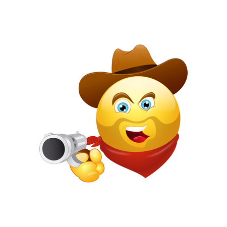 Smiley Cowboy with a gun and hat