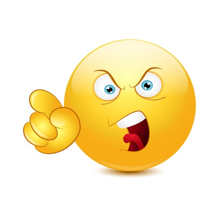 Angry emoticon pointing an accusing finger. Vector