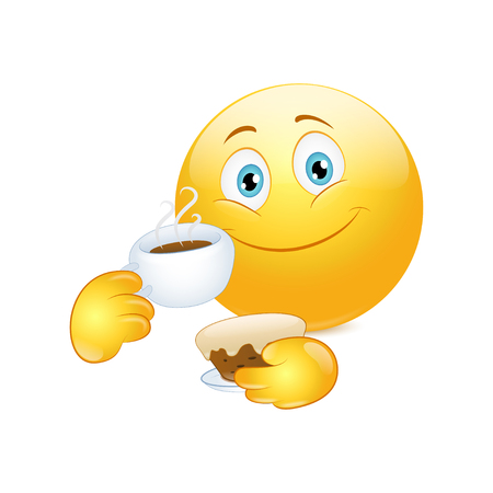 Emoticon drinking coffee with cake on a white background