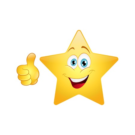 Smiling star showing thumbs up on a white background.