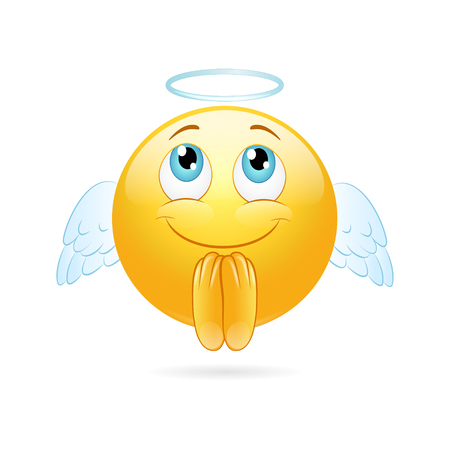 Angel emoticon  on a white background. Vector Illustration